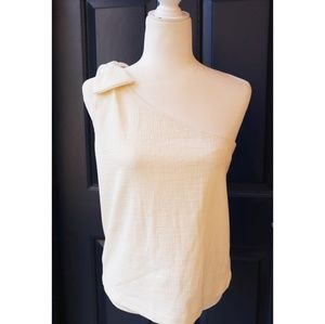 J. Crew Tops - J Crew | cream white one shoulder bow top NWT
